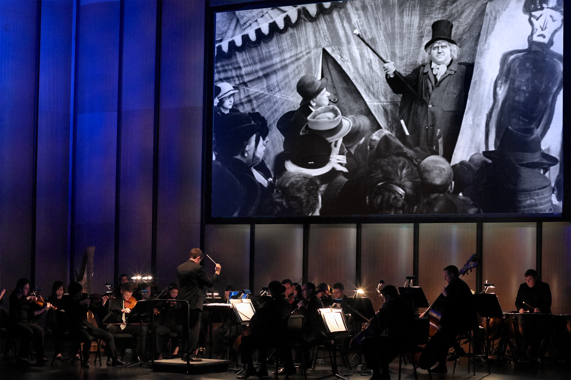 Richard Richard McKay Conducting The Cabinet of Dr. Caligari, Dallas Chamber Symphony